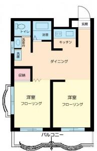 富士見町オリエントマンションの2DKタイプの間取り