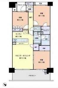 川崎サイトシティ1番館の13階・3LDKの間取り図