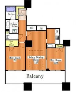 ザ・タワー・グランディア7階・2LDKの間取り図