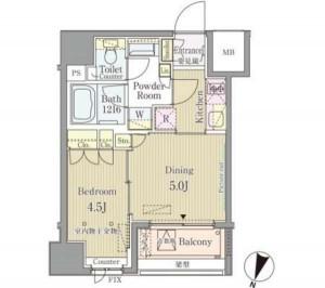 セレニティー神田の703号室の間取りです。