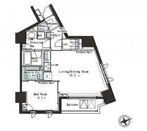 パークアクシス本郷の杜の1205号室の間取りです。