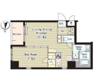 フォンターナ入谷の507号室の間取りです。