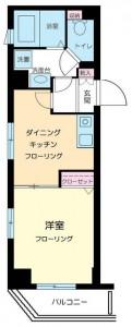 エルサンタフェ渋谷の201号室の間取りです。