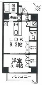 テラッサエストの3階・1LDKの間取りです。