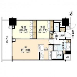 ブランズ横浜の705号室の間取り図です。