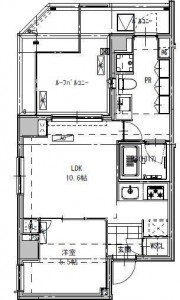 B CITY APARTMENT SHINAGAWA WESTの605号室の間取り図です。