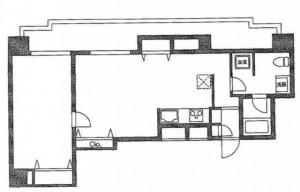 ミスモ水天宮の201号室の間取り図です。