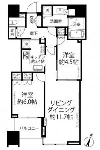 大崎ウエストシティタワーズの702号室の間取り図です。