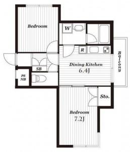 マートルコート新宿ガーデンハウスの2階・2DKの間取り図です。