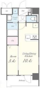 クラシィーコートの102号室の間取り図です。