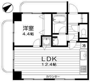 バームステージ三田の1LDK/38.40㎡の間取り図