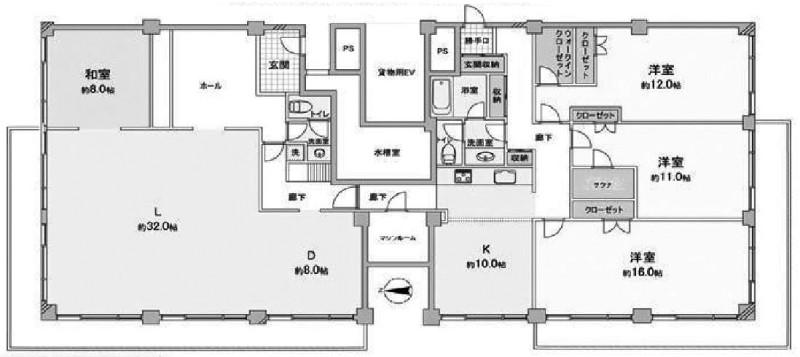 三田綱町パークマンションの4LDK/239.80㎡の間取り図