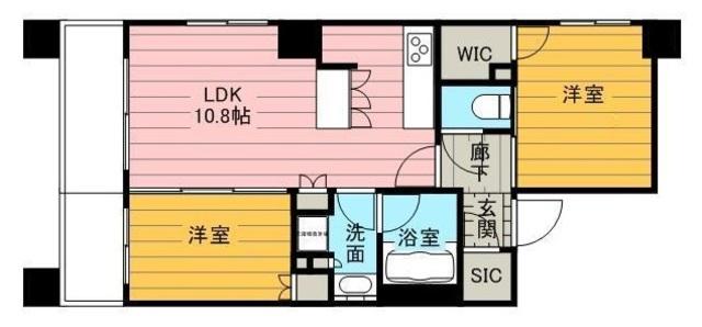 アーデル錦糸町の2LDK/46.09㎡の間取り図