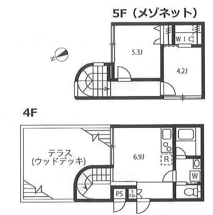 リーガランド恵比寿の2LDK/49.8㎡の間取り図