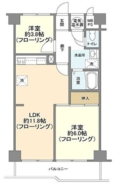 トーカンマンション大井町の2LDK/48.45㎡の間取り図