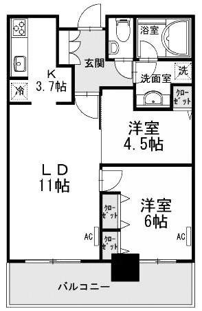 芝浦アイランド ブルームタワーの2LDK/55.26㎡の間取り図
