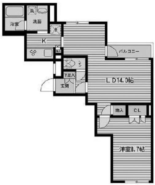 元麻布フォレストプラザIIの1LDK/52.2㎡の間取り図