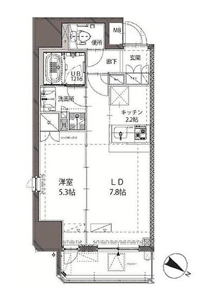ベルジューレ神保町の1LDK/37.97㎡の間取り図