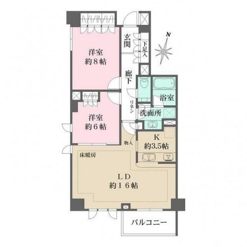 スタイルハウス西麻布の2LDK/76.43㎡の間取り図