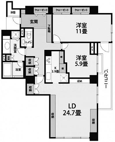 クリスタルコート鳥居坂の2LDK/103.99㎡の間取り図