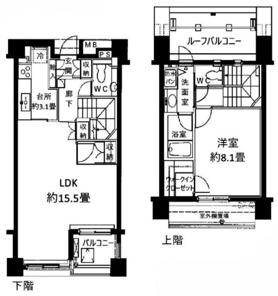 パーク・ノヴァ乃木坂の1LDK/72.65㎡の間取り図