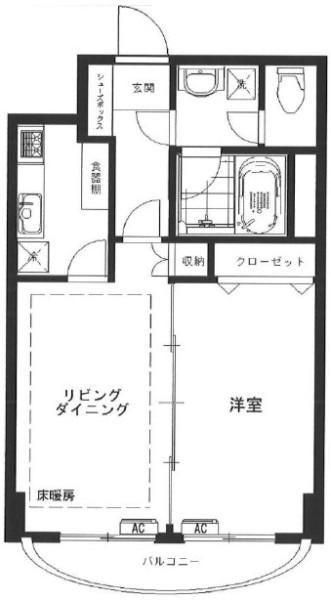 南青山ハウスの1LDK/40.08㎡の間取り図