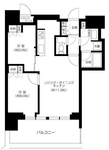 THE COURT 神宮外苑の2LDK/56.23㎡の間取り図