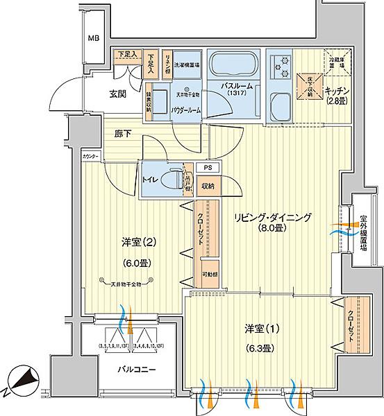 日神パレステージ大森町の2LDK/54㎡の間取り図