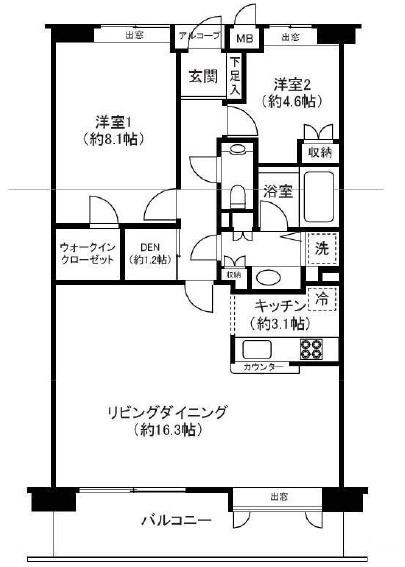 赤坂アパートメントの2SLDK/77.02㎡の間取り図