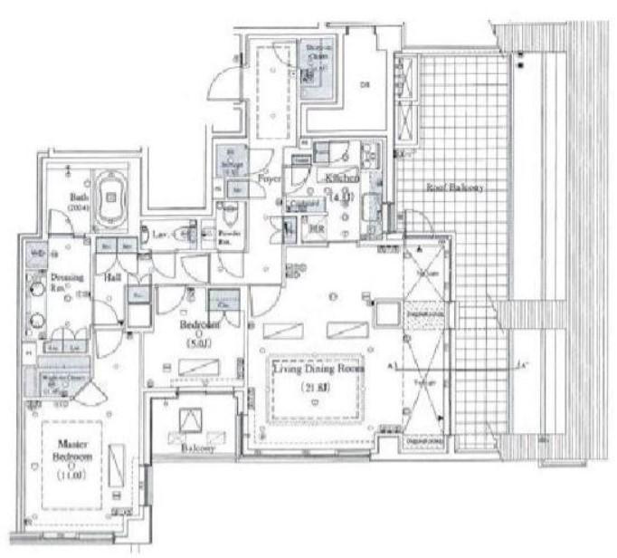 パークマンション白金台カトルの2LDK/113.57㎡の間取り図