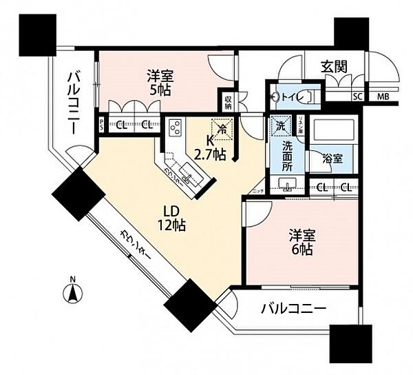 ミッドサザン・レジデンス御殿山の2LDK/58.74㎡の間取り図