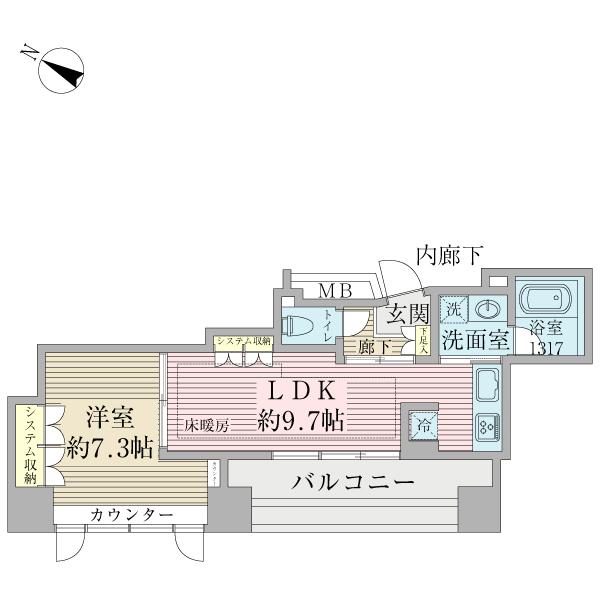 ヴォアール日本橋人形町の1LDK/40㎡の間取り図